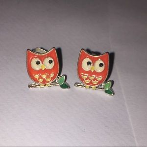 Cute orange and green owl earrings